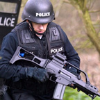 Policeman armed with Heckler & Koch carbine