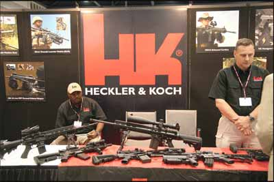Heckler & Koch assault rifles on display