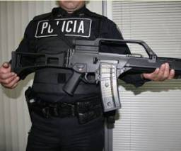 Mexican policeman with a new H&K gun